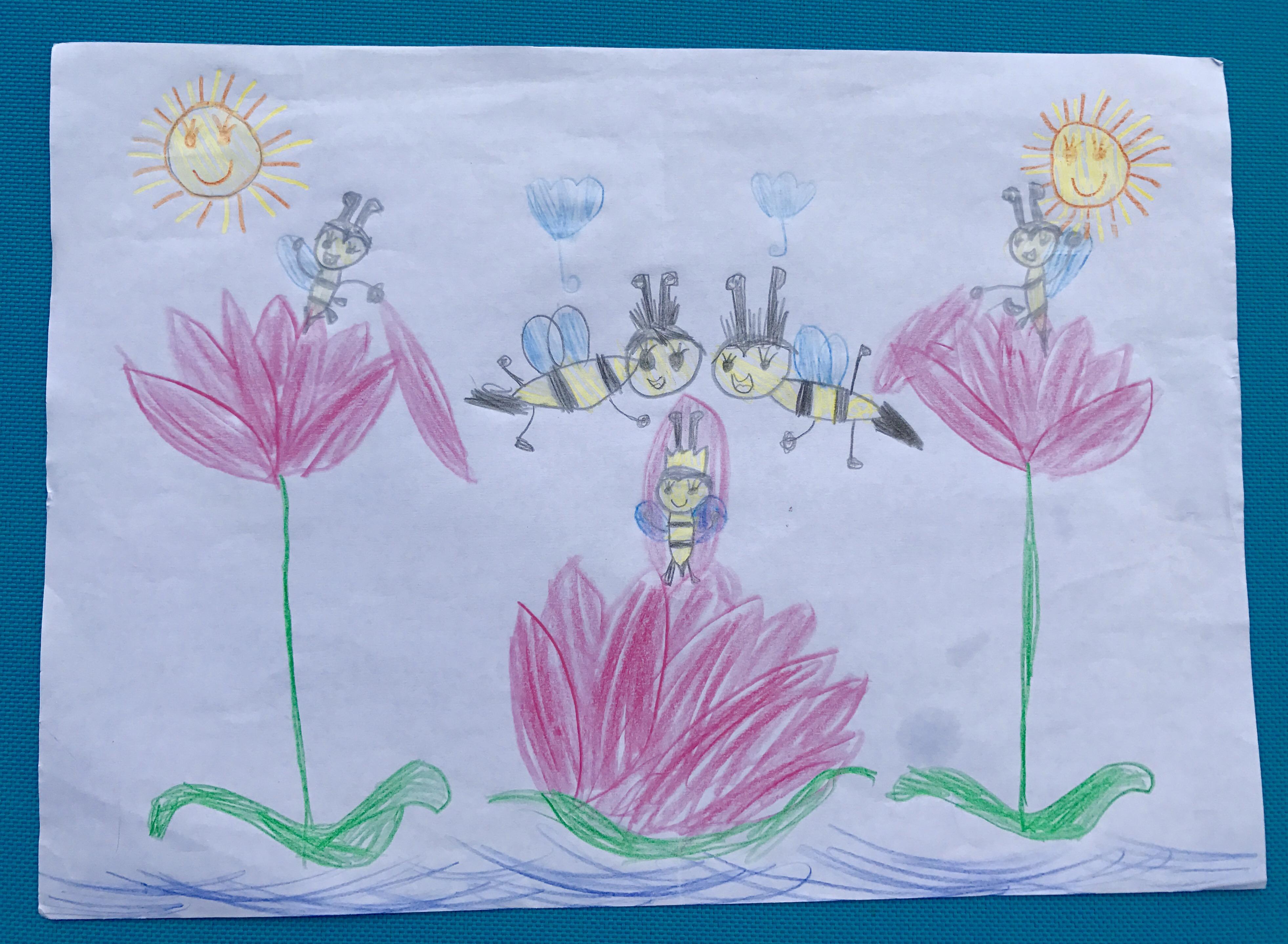 Bild mit Bienen und Lotusblüten von einem Mädchen gemalt
